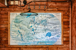 Old map on wooden wall Royalty Free Stock Photos