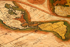Old map of the world. Antique old map of the world. North and South America royalty free stock photos
