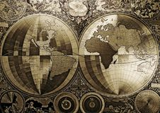 Old map of the world. Map is a drawing or plan of the surface of the earth that shows countries, mountains, roads, etc Stock Photos