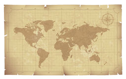 Old map. World map on old paper. Eps8. CMYK. Organized by layers. Global colors. Gradients used Royalty Free Stock Image