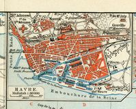 Old map of 1890, the year with the plan of the French city of Le Havre. Royalty Free Stock Image