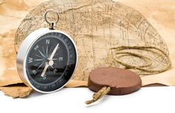Old maps and compass Stock Images