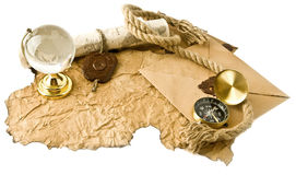 Old maps, compass and globe Stock Photography