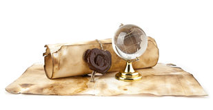 Old maps, compass and globe Royalty Free Stock Photos