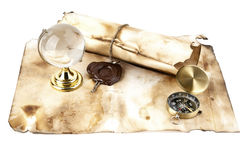 Old maps, compass and globe Royalty Free Stock Images