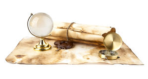 Old maps, compass and globe Stock Image