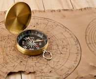 Old maps and compass Stock Photo