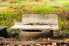 Old marble benches in field Stock Images