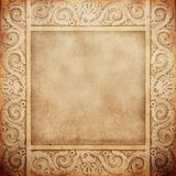 Old marble frame. Old brown cracked marble frame Stock Photos