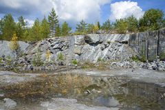 Old marble quarry autumn day. Ruskeala Royalty Free Stock Photography