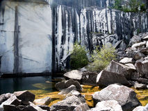 Old marble quarry, Italy. Abandoned. Royalty Free Stock Image