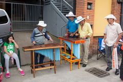 Marimba band. Old marimba players on the street of San Jose, Costa Rica Stock Photography