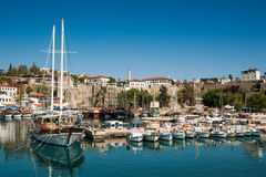 The old Marina of Antalya. Old marina of Antalya. no names of boats and unrecognizable faces Stock Images