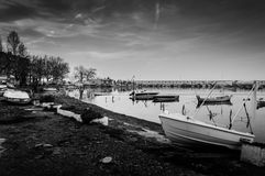 Old Marina. Of Cinarcik town that hosts small boats, fishing vessels and several different type of boats for personal and travel use. Area suffers from mild Stock Image