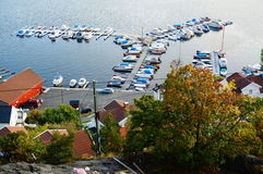 Old marina in  Kragero and fjord, Norway Stock Photo