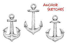 Old marine anchors hand drawn sketches Royalty Free Stock Photography