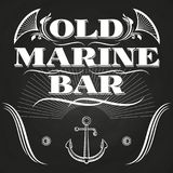 Old marine bar label or banner on chalkboard. Anchor element, vector illustration Stock Photography