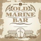 Old marine bar vintage label, banner and details design. Vector illustration Stock Image