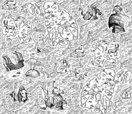 Old marine map. With ships, monsters and mermaids. Seamless pattern royalty free illustration