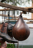 Old market. Vintage sports equipment on old street market stock photography