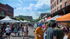 Old Market Farmers Market. Saturday August 18th 2018 at the Old Market farmers market in Omaha Nebraska USA stock photo