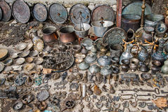 Old market in Greece. Copper and brass souvenirs for sale in the old market of Ioannina, Greece royalty free stock image