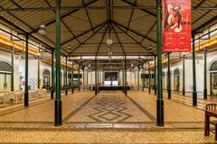 Old Market Hall Interior, Tavira, Portugal. The interior of the Old Market Hall or Mercado da Ribeira that stands on the side of the Gilao River in the royalty free stock images