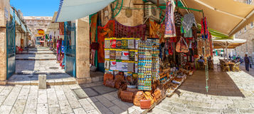 Old market in Jerusalem, Israel (panorama). Royalty Free Stock Photography