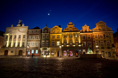 Old Market and moon in Poznan Stock Photos
