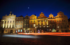Old Market and moon in Poznan Stock Image