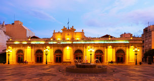 Old market in Plaza Mayor at night. Castellon de la Plana Royalty Free Stock Image