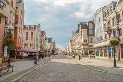 Old Market Polish: Stary Rynek street at old town of Elblag. Royalty Free Stock Image