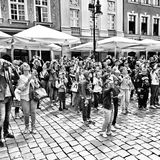 Old market in Poznan. Artistic look in black and white. Stock Photo