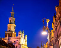 Old Market in Poznan, Poland by night Royalty Free Stock Images
