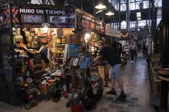 San Telmo Market, in the heart of the old neighborhood of the same name in the city of Buenos Aires, Argentina. stock image