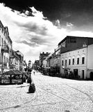 Old market square. Artistic look in black and white. Royalty Free Stock Photo