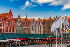 Old Market square in Bruges, Belgium stock photography