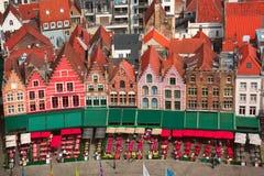 Old Market square in Bruges, Belgium stock photos