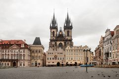 The Old Market Square and Church of Our Lady before Tyn in Prague Stock Photos