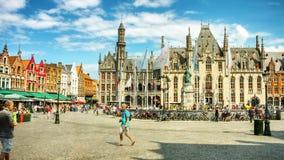Old Market square (Grote markt) in Bruges, Belgium. Timelapse stock video