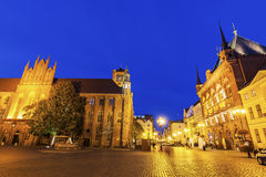 Old Market Square and Old Town Hall in Torun Stock Photo