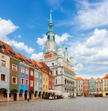 Old market square in Poznan, Poland. Old market square in Poznan with city hall at sunny day, Poland stock photography