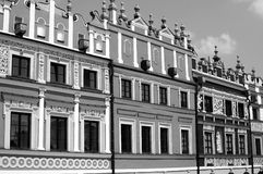 Old market with townhouse. In Zamosc Stock Images