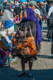 An old market woman selling chicken. San cristobal, mexico Stock Photo
