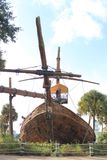 Pirates of the Caribbean ship bow frontal view. Old marooned and abandoned pirate ship front view. Disney resorts. Orlando, Florida Royalty Free Stock Photo