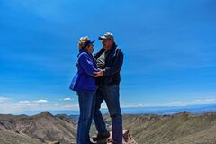 Old Married Couple Enjoying Each Other On Top Of Pike S Peak Stock Image