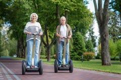 Old married couple enjoying modern vehicle Royalty Free Stock Image