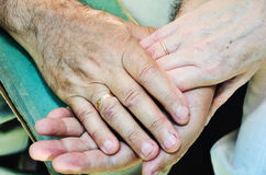 Old married couples hands. horizontal Stock Images