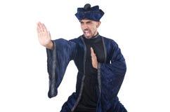 Old martial arts master in blue kimono Royalty Free Stock Photos