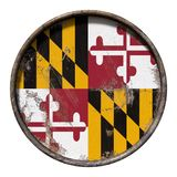 Old Maryland flag. 3d rendering of a Maryland State flag over a rusty metallic plate. Isolated on white background Stock Images
